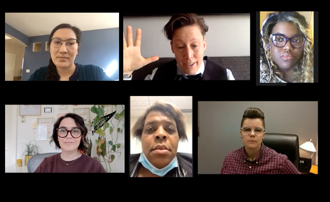 A series of photographs from LGBTQ leaders as they appeared on Zoom. There are six people total.