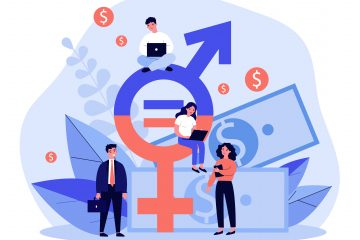 A purple, blue and pink graphic illustration of a situation representing pay equity.