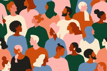 Graphic illustration of a crowd of young and elderly men and women in trendy hipster clothes. Diverse group of stylish people standing together.