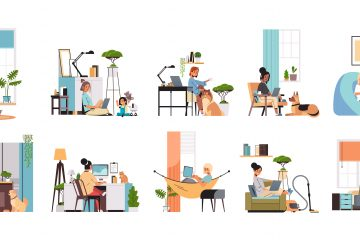 A series of illustrations of women working from various locations