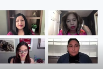 A screen shot of four women of color on a Zoom call.